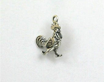 Sterling Silver 3-D Rooster Charm
