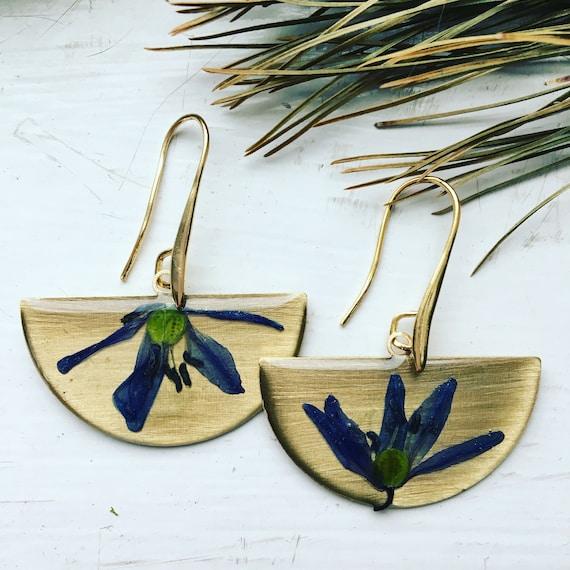 Brass half circle Scilla siberia earrings