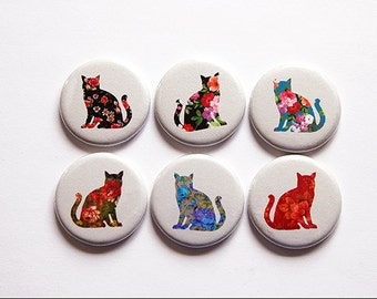 Cat Magnets, Button magnets, Kitchen Magnets, gift for cat lover, cat, Cat Lover, stocking stuffer, Floral, Cats, Feline (4950)