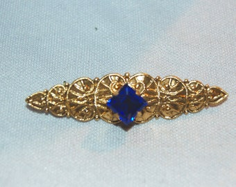 Rhinestone Brooch Cobalt, Gold Blue, old jewelry Vintage