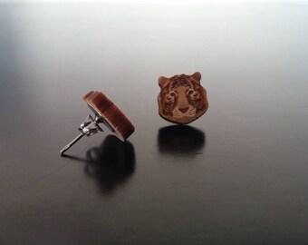 Tiger Engraved Wood Earrings with Nickel Free Studs!
