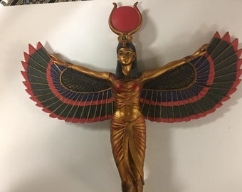 Unique Hand Gold Leafed and Detailed Egyptian Goddess Isis Wall Relief Statue