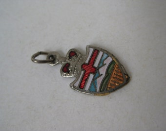 Canadian Crown Shield Charm Enamel Coat of Arms Vintage