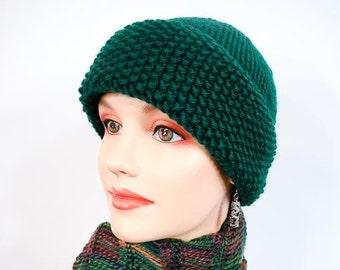 Warm Winter Handknit  Hat - Chunky Knit Cap in Hunter Green - Item 1057