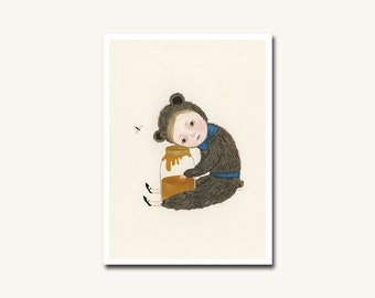 I Miss You Honey - archival mini print