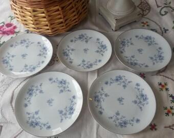 Set of 5 Johann Haviland Blue Garland Bread and Butter Plates, Coupe Shape, Bavaria, Germany