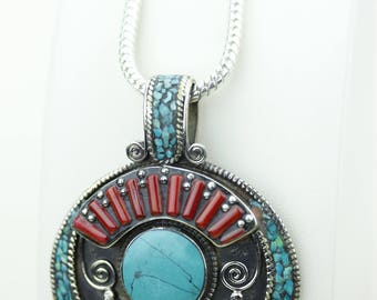 Large Size Turquoise Coral Native Tribal Ethnic Vintage Nepal Tibetan Jewelry OXIDIZED Silver Pendant + Chain P4354