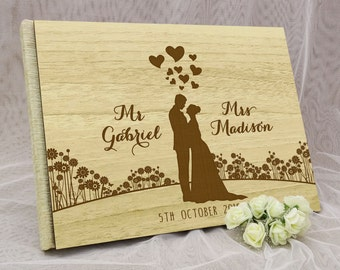 Wedding Guest Book, Personalized Wedding Guest Book, Wood Wedding Guest Book, Guest Book Wedding, Custom Guestbook, Guest Book GB66