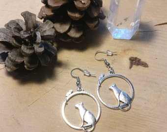 Earrings Cat and mouse
