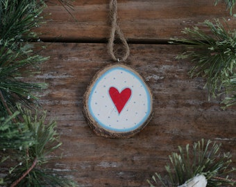 Personalized Christmas Ornament, Heart Ornament, Wood Slice Ornament, Hand painted ornament, Rustic Christmas Ornament, Blue & Red christmas