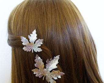 Silver Leaf Hair Clips Bridal Barrettes Bridesmaid Maple Leaves Nature Autumn Fall Rustic Woodland Wedding Accessories Womens Gift For Her