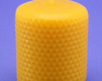 Honeycomb Pillar Candle, 3 x 3 Bees Wax Candle, Honey Comb Embossed Pillar Candle Handmade From Pure Canadian Beeswax Cappings, Epic Beeswax