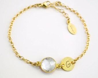 personalized bridesmaid bracelet, Birthstone initial bracelet, April Birthstone jewelry, Clear Quartz bracelet for mom, custom mom jewelry