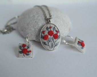 Red roses  jewelry set Embroidered pendant square earrings Floral necklace silver tone Custom embroidery jewelry Wife red personalized gift