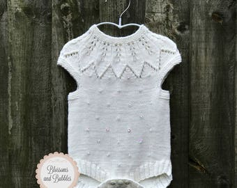 SALE! 15% OFF Baby Girl knitted romper. Newborn Romper. White Romper. Adorable baby knits. Bodysuit. Christening gift. Baby Shower gift.