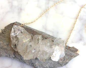 Herkimer Diamond Necklace, Herkimer Necklace, Herkimer, raw crystal necklace, Herkimer Diamonds, herkimer diamond jewelry, bridal necklace