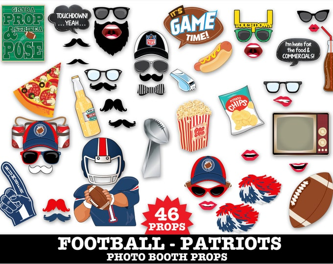 Patriots Football Photo Booth Props - Bowl Party- Football Party - Instant Download PDF - 46 DIY Printable Props