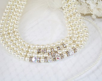 Classically Styled Handcrafted Faux Pearl Crystal Bead Necklace Perfect for Wedding Special Occasion New And Vintage Elements