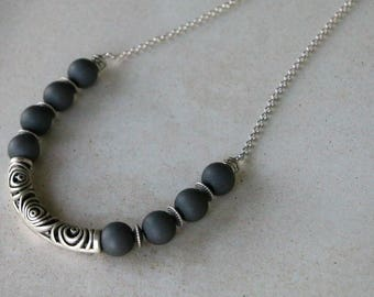 a silver short necklace / silver tube bead necklace /  oriental short beaded necklace / necklaces for woman/  silver beaded mecklace.