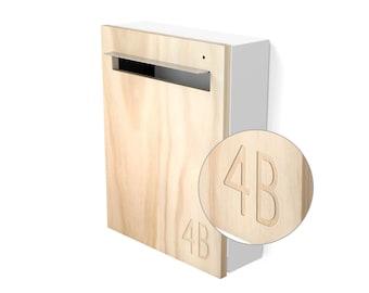 Modern Mailbox - Javi Custom Wall Mounted Letterbox - White Aluminium Body, Stainless Steel Visor and Hardware + Timber front.