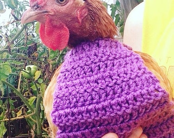 CROCHET PATTERN - Crochet Chicken Sweater PATTERN with Crew Neck or Turtle Neck / Sweater for Chickens, Hens or Roosters
