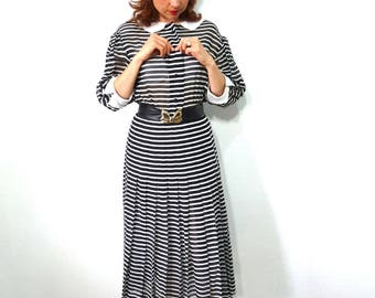 Vintage 1960s dress - Cotton Black and white Stripes Collar Jane Justin for Don Sophisticates Size 6