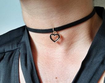 Black Choker Necklace, Heart Choker, Heart Charm Necklace, Black Suede Necklace, Leather Necklace, Heart Choker, Choker Necklace, Necklace