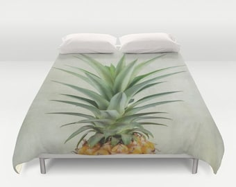 Custom Duvet Cover | Tropical Print Custom Comforter | Pineapple Art | Custom Bedding Duvet Set | Green Decor | Unique Bedroom Decor