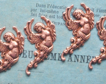 FOUR Art Nouveau Angel Brass Stampings, Rose Ox, Brass Angels, Brass Cherubs, Stampings, Findings