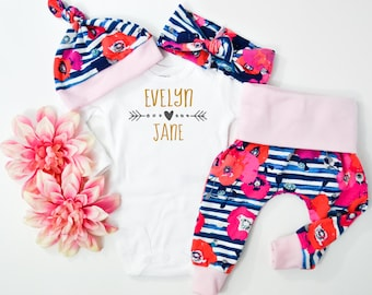 Baby Girl Coming Home Outfit: CHOOSE COMBO Personalized Name Bodysuit, Floral Print Shorties or Leggings, Headband, Hat