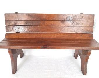 Vintage Garden Style Oak Wood Small Bench Playroom Furniture Dolls Display  Plant Pot Holder Kids Bench