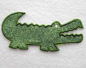 Alligator Patch, Alligator Applique, Embroidered Alligator, Iron On Patch, Applique Patch, Embroidered Patch, Sewn On Patch, Green Lizard