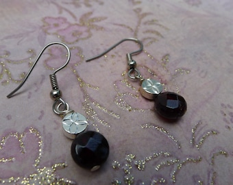 Garnet and Silver disk-Sarah Earrings