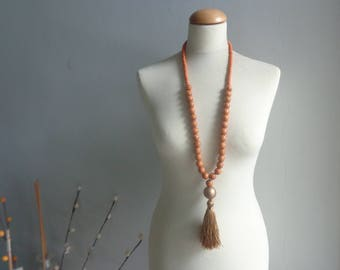 Brown gold tassel Statement necklace longer style, colorful necklace, tribal necklace