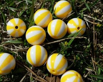 Beach Ball Beads | Chunky Beads | 20MM Chunky Bead | Yellow Stripe Beads | Bubblegum Beads |
