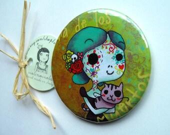 Magnet shows. Mexican sugar skull de el dia de los muertos