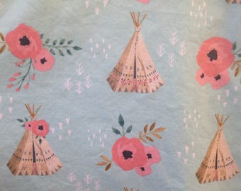 Teepee faux fur baby blanket - girl minky tipi floral baby cuddle blankie - crib or stroller blanket - aqua, coral, and beige- 30 by 34 inch