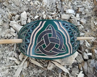Green Triquetra hand carved hair barrette - tooled leather - hair accessories