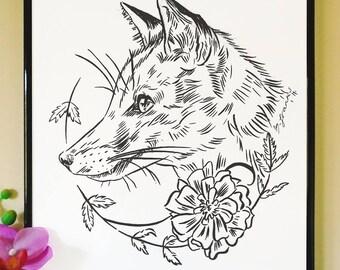 Fox and Marigolds Art Print