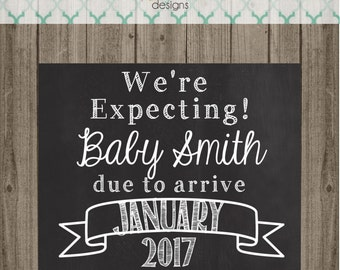 Pregnancy Announcement Chalkboard Sign - We're Expecting- Pregnancy Chalkboard Photo Prop Announcement