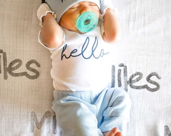 Baby Boy Coming Home Outfit. Spring Summer. Newborn Hello Bodysuit. Blue Custom Personalized Knot Hat Beanie. Take Home Outfit