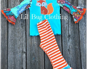 Fox Girl Outfit, Fox Girl Tee & Pant Outfit, Fox Girl Birthday Party Outfit, Fall Girl Clothes, Fall Toddler Clothes