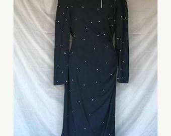 On Sale 1940's Style Noir Black Evening Dress with Faux Diamonds Kathryn Conover