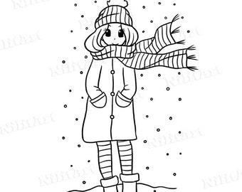 Winter Stamp, girl Stamp ,snow stamp, digital stamp, digital image, NilitArt IMG 110