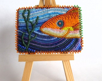Fish in the Sea - Seed Bead Embroidered ACEO