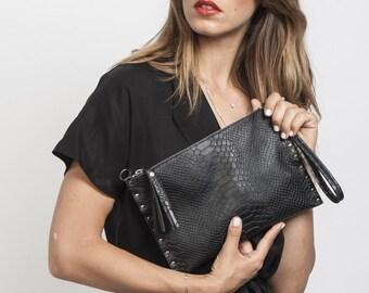 BLACK Leather clutch, Clutch purse, Women bag, black Handbag, leather cross body clutch, Sale!