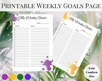 Weekly Planner Page Printable, Erin Condren Inserts, Printable Weekly Planner, Printable Planner Pages, Printable Inserts, Happy Planner