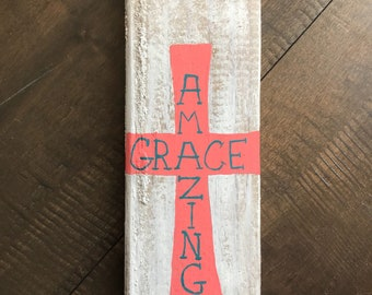 Amazing Grace Painted Wood
