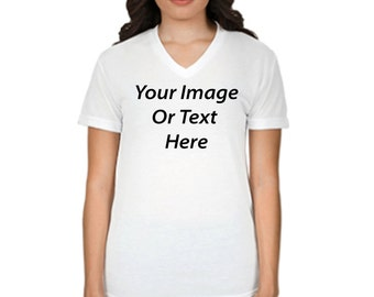 Customized All Over Printed Womens V-Neck T-Shirt