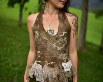 Nuno Felted Fairy Top-Fairy Costume-Silk Top-Nuno Felted Silk Shirt-Woodland Costume-Festival Wear-Burning Man-Vintage Doily-Halter Top OOAK